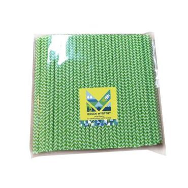 Трубочки бумажные, цвет зелено-белый, d=6 мм., L=195 мм., 250 шт., европодвес, Зеленый зигзаг, Green Mystery, пластиковый пакет