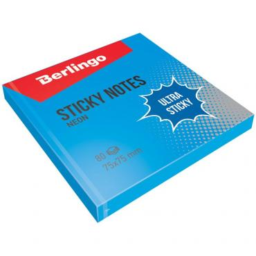 Самоклеящийся блок Berlingo Ultra Sticky, 75*75мм, 80л, синий неон