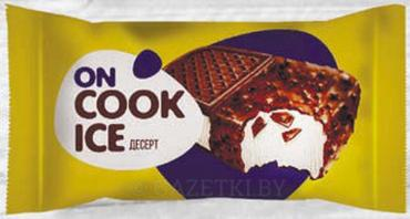 Мороженое Печенье Десерт ON COOK ICE взбитый c ваф. крошкой в глазури, 12% , Нордар, 90 гр., флоу-пак