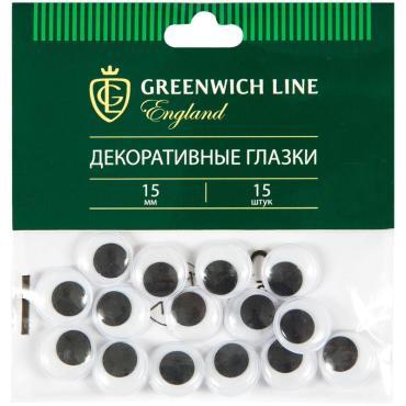 Материал декоративный Greenwich Line Глазки, 15мм, 15шт.