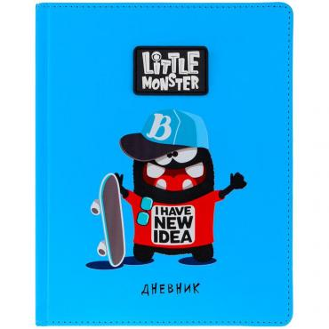 Дневник 1-11 кл. 48л. (твердый) Little monster. Blue, иск.кожа, ПВХ-аппликация, тон. блок, ляссе