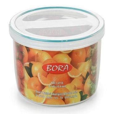 Контейнер пищевой круглый 1,27 л., Н110хD140 мм., с крышкой,пластик, Bora