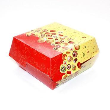 Коробка для бургера с печатью 110х110х60 мм, Рог изобилия, 300 шт/уп