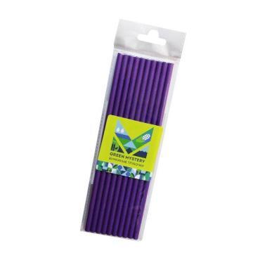 Трубочки бумажные, цвет фиолетовый, d=6 мм., L= 195 мм., европодвес, 10 шт., Violet, Green Mystery, пластиковый пакет