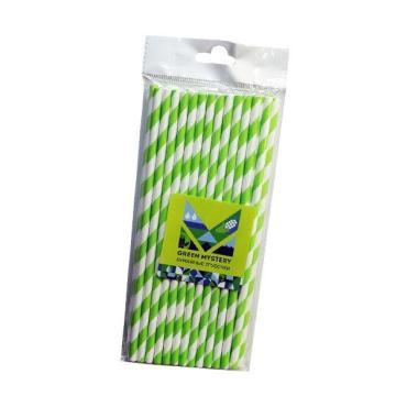 Трубочки бумажные полоска, цвет зелено-белый d=6 мм. L = 195 мм.40 шт. Green Mystery Лиана , пластиковый пакет