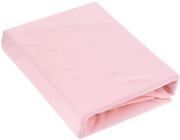 Простыня трикотажная на резинке 90*200 100% хлопок, плотность 145 гр. розовая, пластиковый пакет