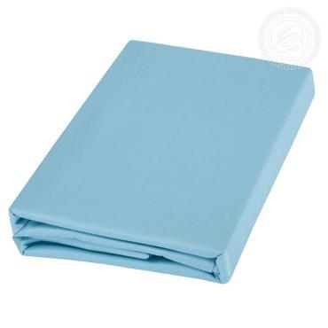Простыня 200*220, ЕВРО, поплин ГК-2 кат, 100% хлопок, голубой, пластиковый пакет