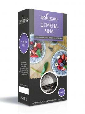 Семена чиа, Polezzno, 200 гр., картонная коробка