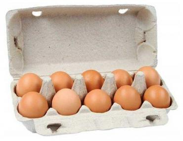 Яйцо куриное С-1 коричневое, 10 штук в упаковке, Возрождение, картонная пачка