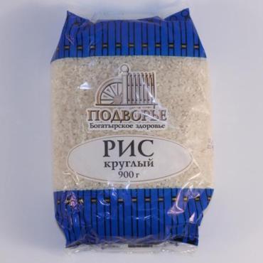 Рис круглый Подворье, 900 гр., пластиковый пакет