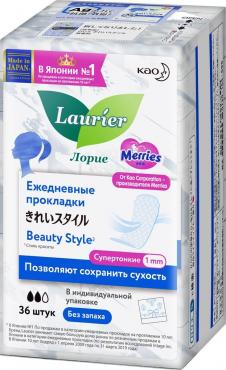 Прокладки ежедневные без запаха, 36 шт., Laurier Beauty Style Premium, пластиковый пакет