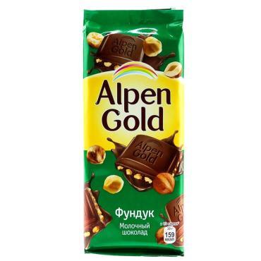 Шоколад молочный, фундук, Alpen Gold, 85 гр., флоу-пак