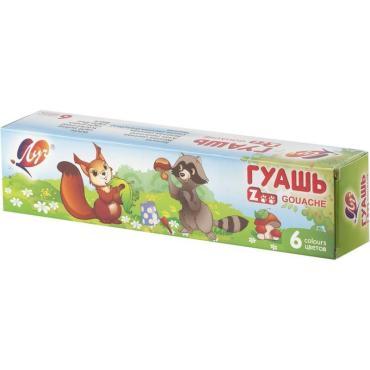 Гуашь ЛУЧ Zoo, 6 цветов по 15 мл, блок-тара, без кисти, картонная упаковка, 19С 1250-08