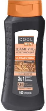 Шампунь, укрепляющий Cool Men UltraEnergy Sport, 400 мл., пластиковая бутылка