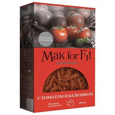Макароны витушки с томатом и базиликом Mak for Fit, 400 гр., картонная коробка