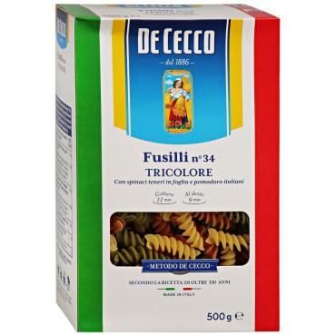 Макаронные изделия, De Cecco, Fusilli n-34, Tricolore 500 гр., картонная коробка