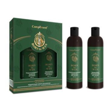Набор косметический для волос мужской шампунь, бальзам Compliment №1100 born to win, 604 гр., подарочная упаковка