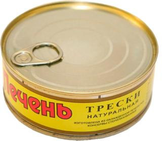 Печень трески натуральная, Северпродукт, 220 гр., жестяная банка