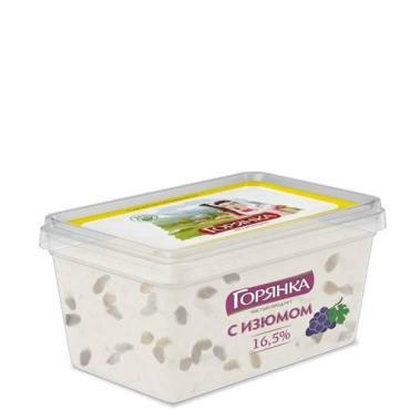 МСП с ЗМЖ по творожной массы изюм 16,5% Горянка , 300 гр., пластиковый контейнер