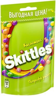 Драже в сахарной глазури Skittles Кисломикс 100 гр., флоу-пак
