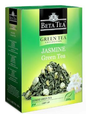 Чай зеленый с жасмином,  Beta Tea, 100 гр., картонная коробка