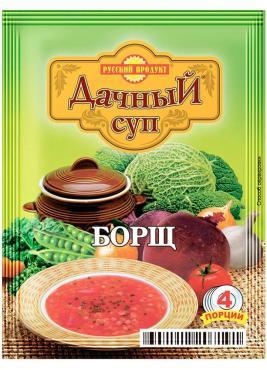 Суп Русский Продукт быстрого приготовления борщ Дачный, 50 гр, сашет