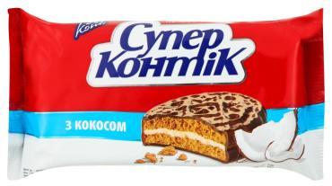 Печенье-сэндвич с кокосом Супер-Контик , 100 гр., флоу-пак