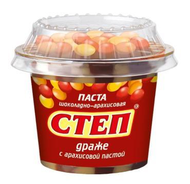 Паста десертная с драже шоколадно-арахисовая Степ, Славянка, 180 г., пэт контейнер