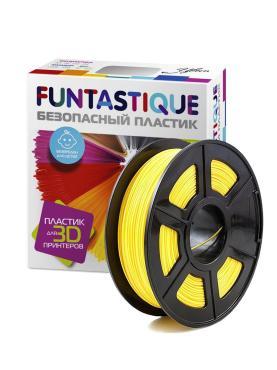 Пластик в катушке для 3D принтера (PLA, 1.75 мм.) желтый, Funtastique, 1 кг., картон