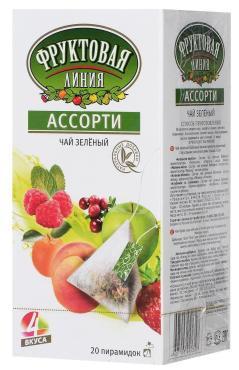 Чай зеленый Фруктовая линия Ассорти 20 пакетов