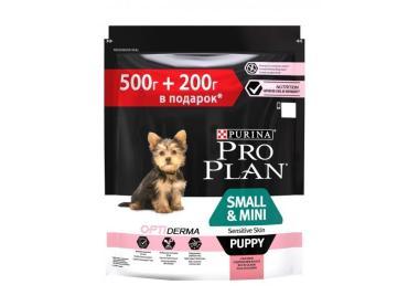 Корм сухой для щенков мелких пород с чувствительной кожей, с лососем и рисом, 500 гр. + 200 гр., Purina Pro Plan Optiderma Small&Mini Puppy Sensitive Skin, 500 гр., пластиковый пакет