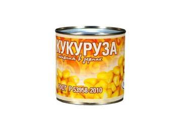 Кукуруза Рузком сахарная ГОСТ в/с , 400 гр, ж/б