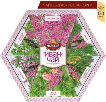 Чай чайно-травяное ассорти иван-чай Майский, 120 гр., подарочная упаковка