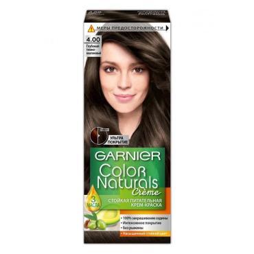 Крем-краска для волос 4.00 Глубокий темно-каштановый Garnier Color Naturals, 110 мл., картон