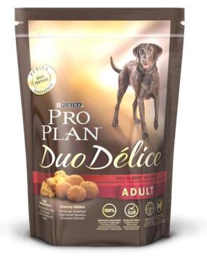 Корм сухой для взрослых собак, с говядиной и рисом, Purina Pro Plan Duo Delice, 700 гр., пластиковый пакет