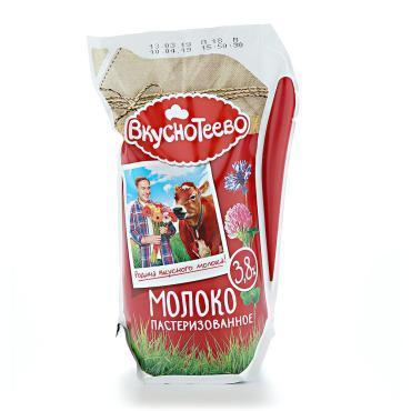 Молоко пастеризованное Ультрачистое 3,8% Вкуснотеево, 900 гр., пластиковый пакет
