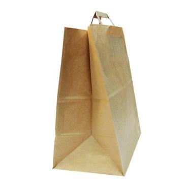 Пакеты 320 мм., коричневый, крафт бумажный с плоской ручкой, 250 шт.