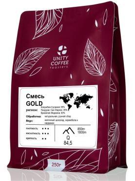 Кофе молотый Unity Coffee Смесь Gold, 250 гр., пластиковый пакет