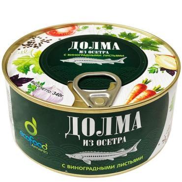 Долма из осетра с виноградными листьями Гурмения, 340 гр., ж/б