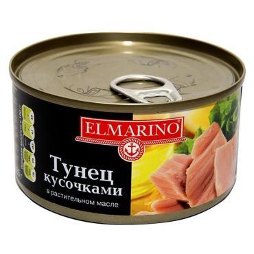Тунец цельный в растительном масле Elmarino, 185 гр., ж/б