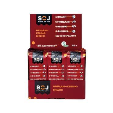Фруктово-ореховый батончик со вкусом вишни миндаль-кешью-вишня , SOJ, 40 гр., флоу-пак