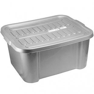 Ящик для хранения 38 мм., 4 л., 510х420х245 мм., с крышкой пластик темно-серый Bora