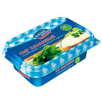 Сыр 60% плавленый сливочный с черемшой и луком Залесский фермер, 150 гр., пластиковый контейнер