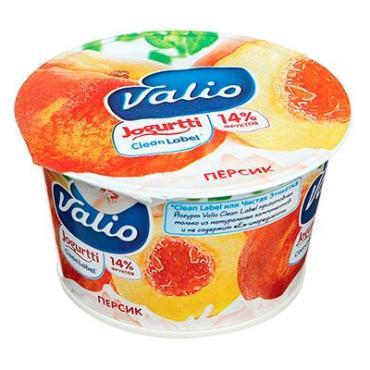 Йогурт с персиком 2,6% Valio, 180 гр., пластиковый стакан