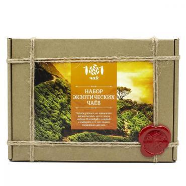 Чай Набор экзотических чаев, ассорти из 4 видов чая 101 ЧАЙ, 90 гр., подарочная упаковка