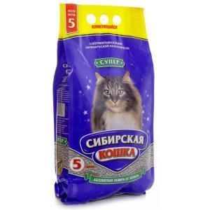 Наполнитель супер комкующийся Сибирская кошка, 10 кг., пластиковый пакет