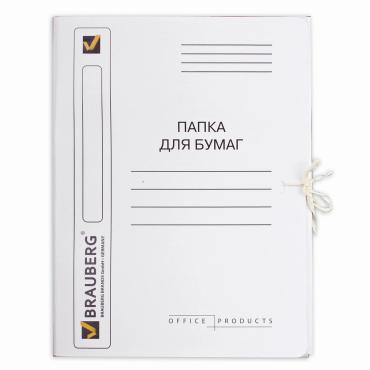 Папка для бумаг с завязками картонная мелованная, гарантированная плотность 320 г/м2, до 200 листов, Brauberg, 6 гр.