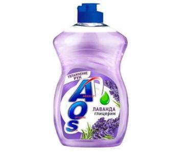 Средство для мытья посуды глицерин лаванда AOS, 450 мл., ПЭТ
