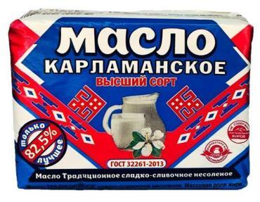 Масло сливочное, крестьянское 82,5%, ГОСТ, Карламанское, 180 гр., фольга