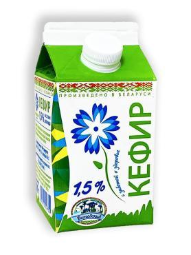 Кефир 1,5%, Витебское молоко, 500 гр., пюр-пак